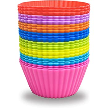 24 Pack Silicone Baking Cups Reusable Muffin Liners Non-Stick Cup Cake Molds Set Cupcake Silicone Liner Standard Size Silicone Cupcake Holder Reusable Cupcake Liners Bpa Free (8 Rainbow Colors)