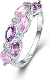 925 Sterling Silver Filled Lab-Created Pink Topaz & Amethyst Half Eternity Band Stacking Ring for Women