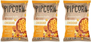Pipcorn Heirloom Cheese Balls - Cheddar (3 Pack of 4.5oz Bags) - Organic Cheese, No Artificial Anything, Non-GMO Heirloom ...