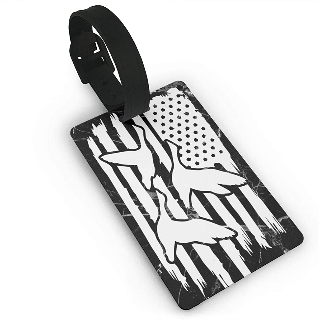 J1S0H0RTBAG American Flag Duck Hunter Luggage Tag & Bag Tags Travel ID Identification Labels for Men Women Golf Bags Luggage Bag