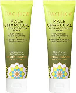 Pacifica Kale Charcoal Ultimate Detox Mask (Pack of 2) with Aloe Barbadensis Leaf Juice, Ginger Root Extract, Kale Extract...