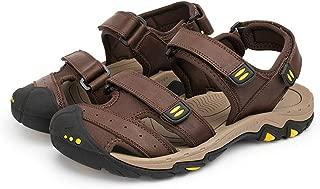 JJzex Fashion Summer Cow Leather Men Sandals Mens Casual Non-Slip Rubber Soles Beach Shoes Plus Size 38~47