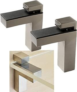 Windspeed 2 Set of Wood/Glass Shelf Bracket Holder/Wall Mount Panel Glass Clip Clamp, Adjustable, Brushed Nickel (Large)
