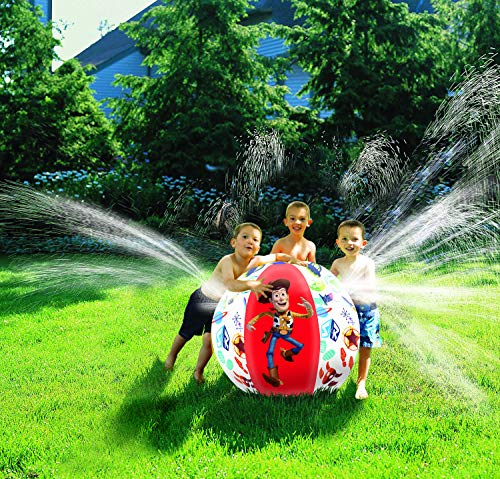 A beach ball sprinkler is a fun way for toddlers to get wet outdoors