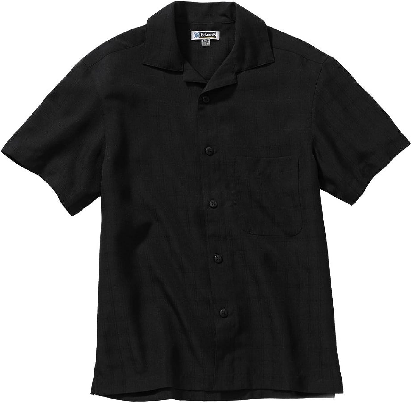 Edwards Garment Restaurants Perfect Pocket Camp Shirts_BLACK_4XLT