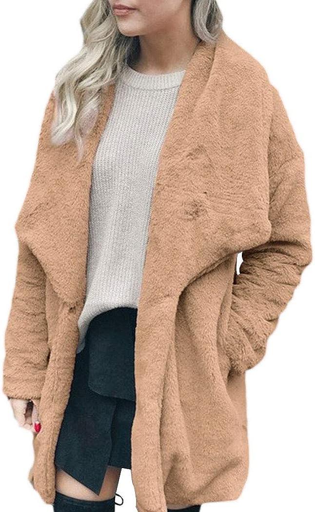 bbpawing Womens Faux Fur Jacket Fluffy Long Sleeve Mid Long Warm Outwear Coat