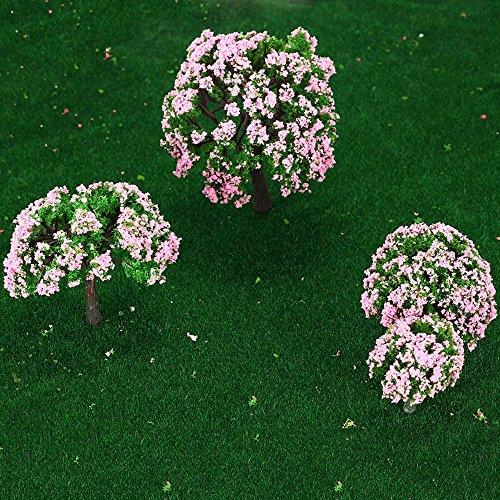 GoolRC 4 Stück Kunststoff Modell Bäume Zug Layout Garten Landschaft Weiß und rosa Blumen Bäume Diorama Miniatur Rosa (Typ1)