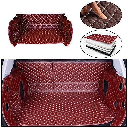 Tuqiang Op maat gemaakte kofferbakmatten voor Macan 2014-2018 3D-volledige bedekking, leer, kofferbakbescherming, waterdichte cargo liner, kofferbakmat, rode wijn