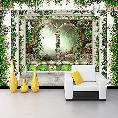 XHXI Murales 3D para sala de estar Papel tapiz 3D personalizado Moderno Pastoral Flor Vid Roma Colum Pared Pintado Papel tapiz 3D Decoración dormitorio Fotomural sala sofá pared mural-350cm×256cm