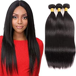 Huarisi 3 Bundles Straight Hair 16 18 20 Inches Straight Brazilian Hair Weaves Grade Virgin Human Hair Extensions Deals Double Weft Natural Color For Braiding