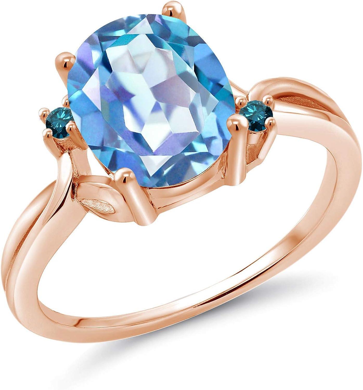 Gem Stone King SALENEW very popular 2.73 Ct Millennium Mystic Blue Diamond Popular shop is the lowest price challenge 18K Quartz