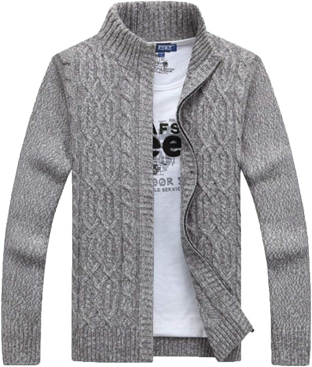 Mens Sweaters Winter Thickening Warm Cashmere Sweater Zipper Cardigan Grey Black Sweater