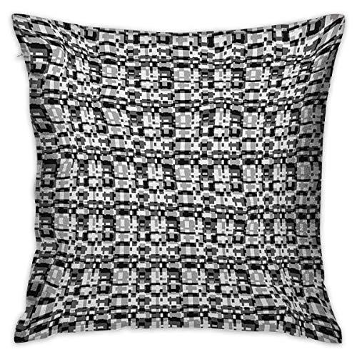 Protector de funda de almohada cuadrada abstracta Patrón de escala de grises asimétrico Teselado óptico con formas superpuestas Fundas de cojín blanco gris negro Fundas de almohada para sofá Dormitori