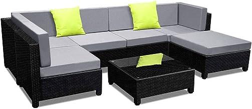 Gardeon 7pc Outdoor Furniture Set Wicket Lounge Rattan Chair with Table Gardon Yard Patio-Black