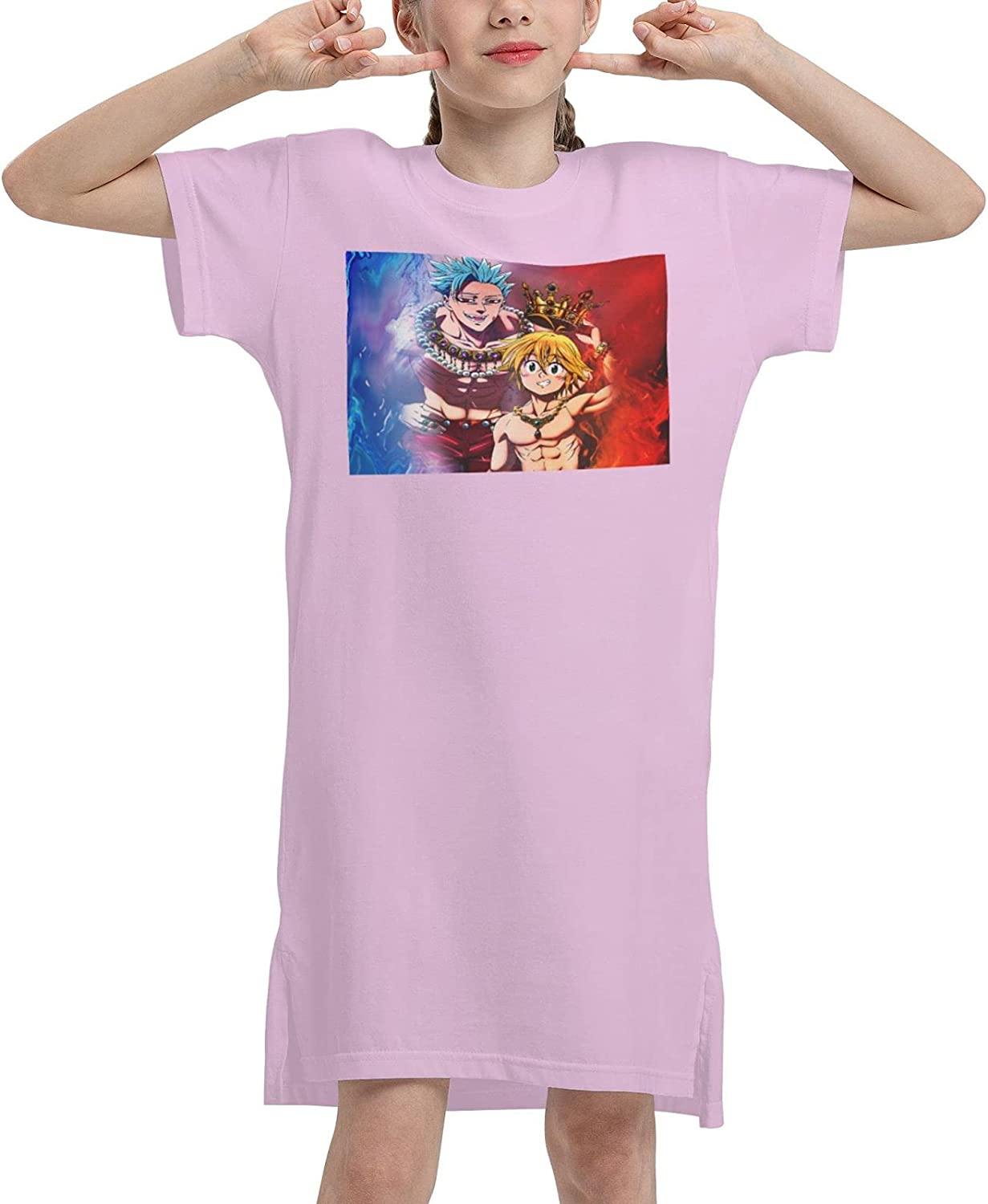 Vgfgtr The Seven Deadly Sins Girls Short Sleeve Dress Casual Swing Twirl Skirt for Holiday Theme Party 7-12 Years
