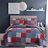 Red Blue Plaid Quilt Full/Queen Size Patchwork...