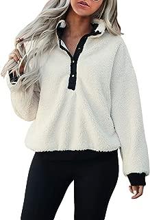 Womens Button Down Neck Fuzzy Fleece Pullovers Faux Sherpa Sweatshirts Oversized Outwear