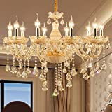 XinQing Lámparas de araña Crystal Candle Chandelier LED Estilo Europeo Ajustable 0.5m Cadena Colgante E14 Techo Colgante de luz for salón Comedor Restaurante (Color : 10bulbs)