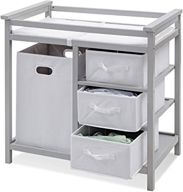 Costzon Baby Changing Table, Infant Diaper Changing Table Organization, Diaper Storage Nursery Station with Hamper and 3 Baskets (Gray+White)