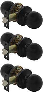 Probrico Round Black Passage Door Lock Set Stainless Steel Knobs for Hall and Closet, 3 Pack
