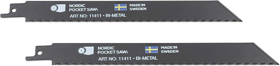Nordic Pocket Saw Hoja Sierra de Metales 20 cm - Recambio Sierra Manual Plegable - 8 Dientes por CM de Hoja - Corta Fácilmente Plástico, Metal y Tubos de PVC - Fabricado en Suecia