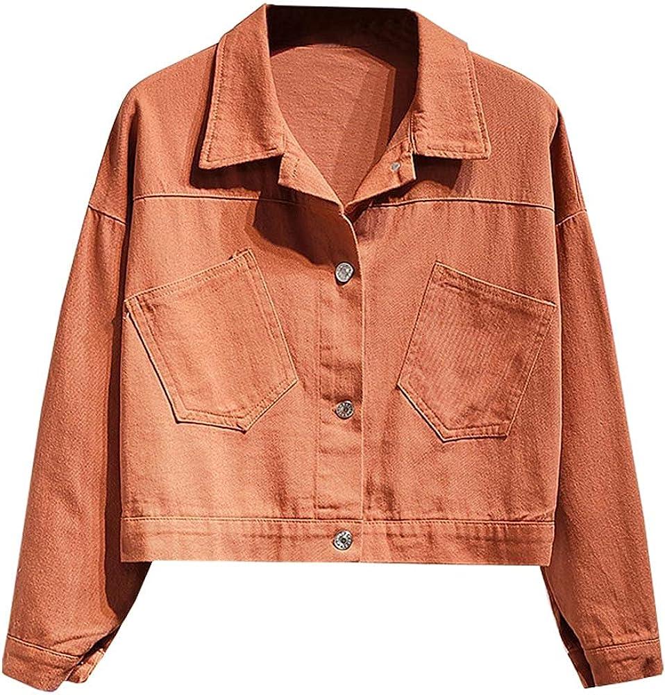 SCOFEEL Women's Crop Jean Coat Long Sleeve Slim fit Button Down Denim Jackets