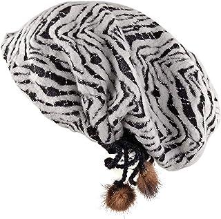 EFOCUS Women's Zebra Stripe Caps Wrinkled Slouch Beanie Fashion Long Oversized Skull Hat
