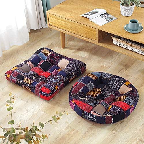 DAGCOT Silla de oficina cojín del asiento del amortiguador de asiento Espesar futón, Almohada suave y transpirable tatami Baja en la sala de estar dormitorio, 2 PC cenar Presidente Cojines F-2pcs 55x5
