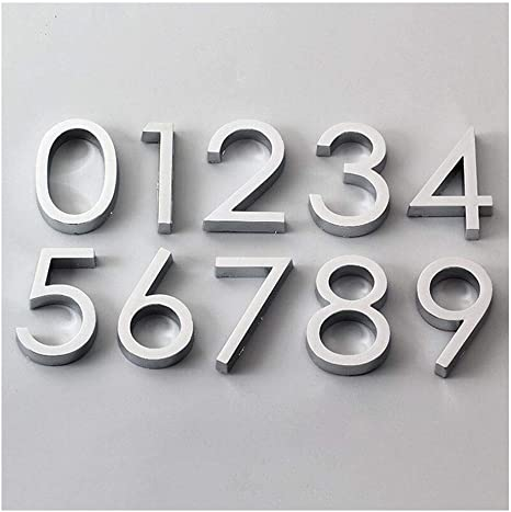Door Address Silver Plaque Sticky Number Sign House Hotel Digits Sticker
