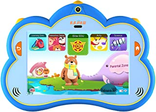 B.B.PAW 8'' Kids Tablet Pre-Loaded 120+ Apps Free Learning & Training Kid's Abilities, IP68 Waterproof and Water Resistant, Eyes Protection and Silicone Shell, English&Spanish Edition, Blue