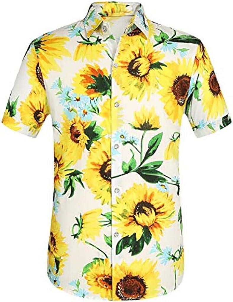 MODOQO Men's Shirt-Summer Beach Hawaii Printed Splicing Pattern Loose Fit Button Down Henley Shirts
