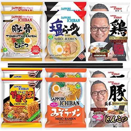 Sapporo Ichiban Instant Ramen Noodle Sample Variety Packs, Miso, Tonkotsu, Shio, Yakisoba, Momosan...
