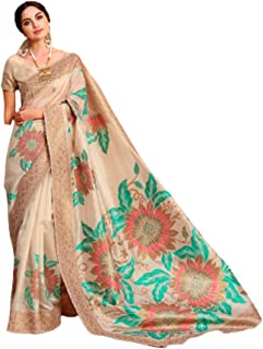 تصميم بيج للسيدات هندي نمط بوليوود ناعم كريستال الحرير الاحتفالي ارتداء ساري مع بلوزة قطعة أثرية Hit 6063