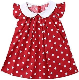 0-4 T Baby Dress Girl Sleeveless Princess Girls Dresses Peter Pan Collar Polka Dot Little Baby Birthday Party Dress Casual Kid Clothes