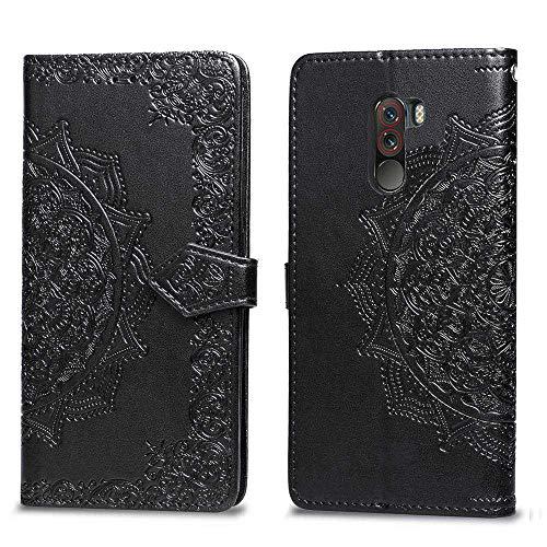 Bear Village Hülle für Xiaomi PocoPhone F1, PU Lederhülle Handyhülle für Xiaomi PocoPhone F1, Brieftasche Kratzfestes Magnet Handytasche mit Kartenfach, Schwarz