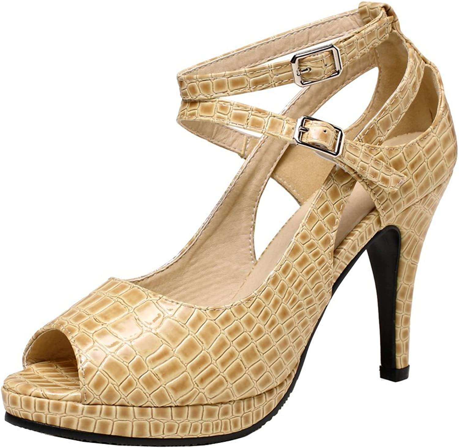 Getmorebeauty Women's Snake Stripe Ankle Straps Dress Heeled Sandals