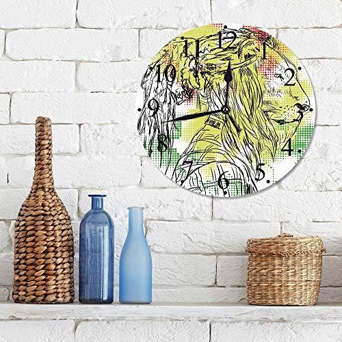 Silencioso Wall Clock Decoración de hogar de Reloj de Redondo,Rasta, Cabeza de león incompleta en blanco y negro en imagen de fondo de píxeles digitales ,para Hogar, Sala de Estar, el Aula