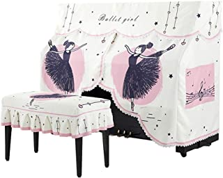 Upright Piano Cover European Embroidery Upright Simple Modern Piano Half Cover with Piano Bench Cover 2-Piece Set Piano Towel Protective Decorative Cloth for Piano Color : Pink, Size : 57x37cm