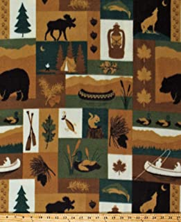Fleece Northwoods Patch Moose Bears Canoes Fishing Camping Cabin Nature Brown Green Fleece Fabric Print by The Yard (D325.29)