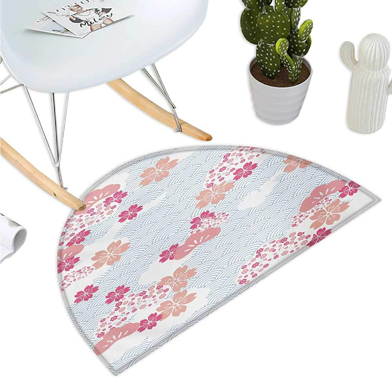 Japanese Half Round Door mats Squama Pattern with Cherry Blossom Land of The Rising Sun Pattern Entry Door Mat H 35.4  xD 53.1  Peach Dark Coral Pale bluee