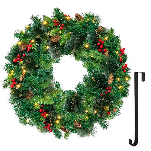"24"" Artificial Christmas Wreath Prelit with 15"" Hanger, Xmas Wreath with 50 LED Lights, Red Berries, Pine Cones & Glitter Pine Needles for Front Door Wall Christmas Decorations (Battery Operated)"