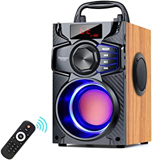 Portable Bluetooth Speaker Subwoofer Heavy Bass Wireless Outdoor Party Speaker MP3 Player Line in Speakers Support Remote Control FM Radio TF Card LCD Display for Home Party Phone Computer PC
