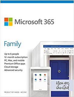 Microsoft 365 Family 1 Year / 6 Users subscription + McAfee 1 device Total Protection Antivirus - for PC, Smartphone and T...
