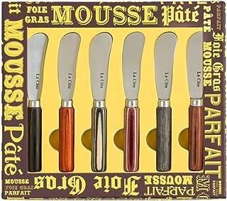 La Cote 6 Piece Cheese Knife Spreader Set Stainless Steel Blade Pakka Wood Handle (5 Inch)