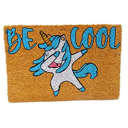 koko doormats Kook Time Felpudo para Entrada de Casa Original, Unicorn Be Cool, Fibra de Coco y PVC, 40x60cm