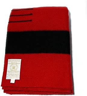 Hudson's Bay Company 90 by 100-Inch Queen Size 6 Point Blanket, Scarlet/Black Stripe