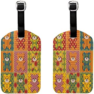 Labels Tags With Strap Cabin Decor,Colorful Kids Room Pattern with Patchwork Style Teddy Bears Cute Funny Childish,Multicolor Baggage Name Tag