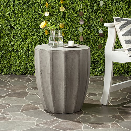 Safavieh Outdoor Collection Jaslyn Modern Concrete Dark Grey Round 17.7-inch Accent Table