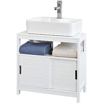Trendteam 133630196 Set One - Mueble para debajo de lavabo, Mueble base Skin Gloss, roble San Remo claro, parte frontal en blanco brillante, 60 x 56 x 34 cm: Amazon.es: Hogar