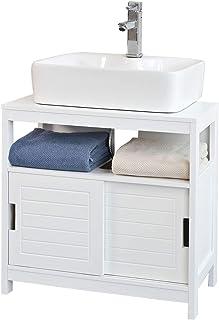 SoBuy Mueble para Debajo del LavaboArmario de Baño de Suelo1 Estante y 2 Puertas CorrederasH60cmFRG128-WES